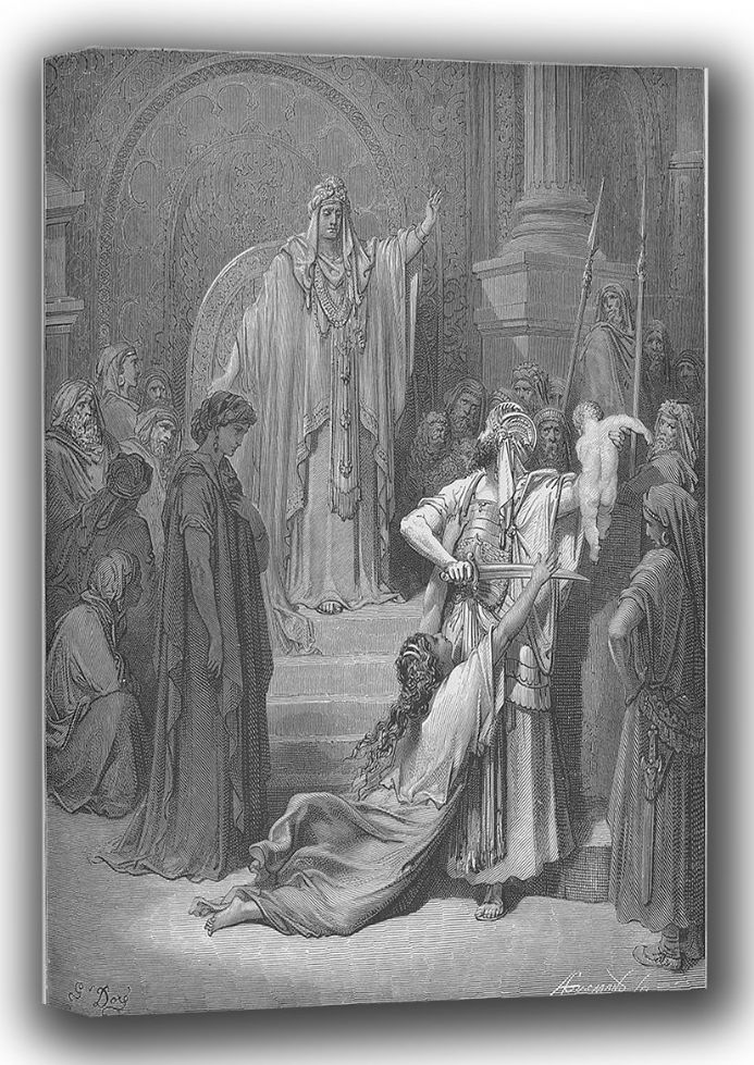 Dore, Gustave: The Judgement of Solomon (Illustration from Dore's 'The Holy Bible'). Fine Art Canvas. Sizes: A4/A3/A2/A1 (001833)